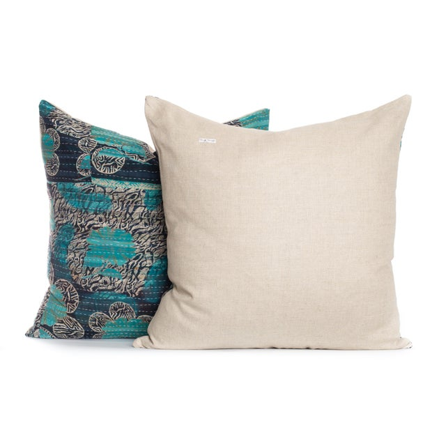 Boho Chic Vintage Kantha Pillows - A Pair For Sale - Image 3 of 3