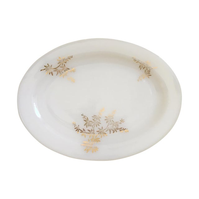 Gilded Milk Glass Mid Century Serving Tray - Image 1 of 8