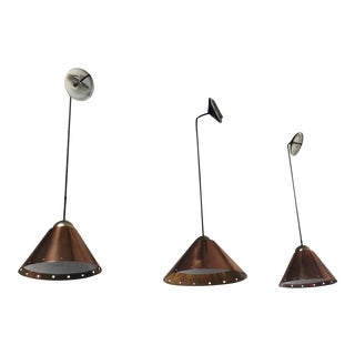 Mid-Century Modern Ron Rezek Conical Cooper Pendant Lights - Set of 3 For Sale