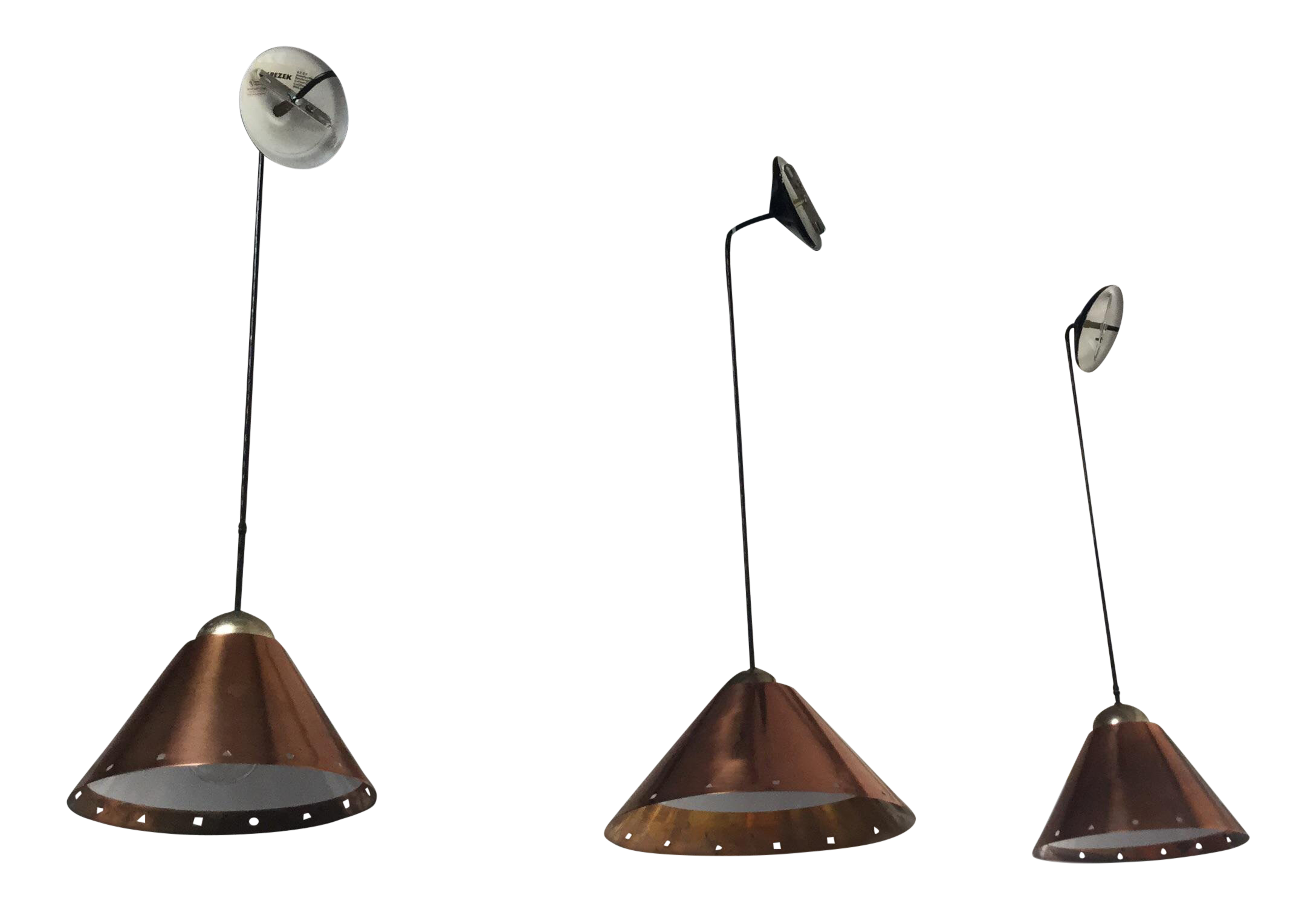 Mid Century Modern Ron Rezek Conical Cooper Pendant Lights   Set Of 3 For  Sale