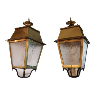 French Brass Lanterns, Newly Rewired - a Pair For Sale