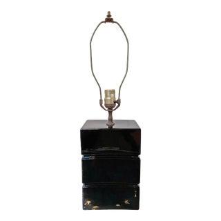 1950s Mid-Century Ceramic Table Lamp in Black For Sale