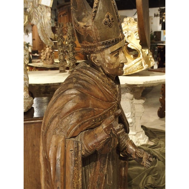 Large Antique Polychromed Wood Statue of a Bishop, Circa 1650 For Sale - Image 9 of 12