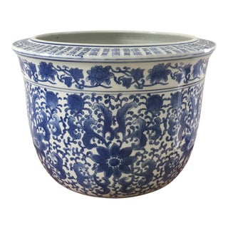 Large Chinese Blue and White Ceramic Planter For Sale