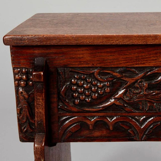 French Hand Carved Oak Stool with Grapes - Image 9 of 9
