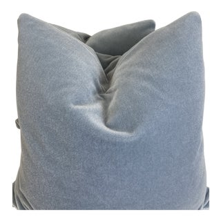 "Periwinkle Blue Mohair 22"" Pillows-A Pair For Sale"