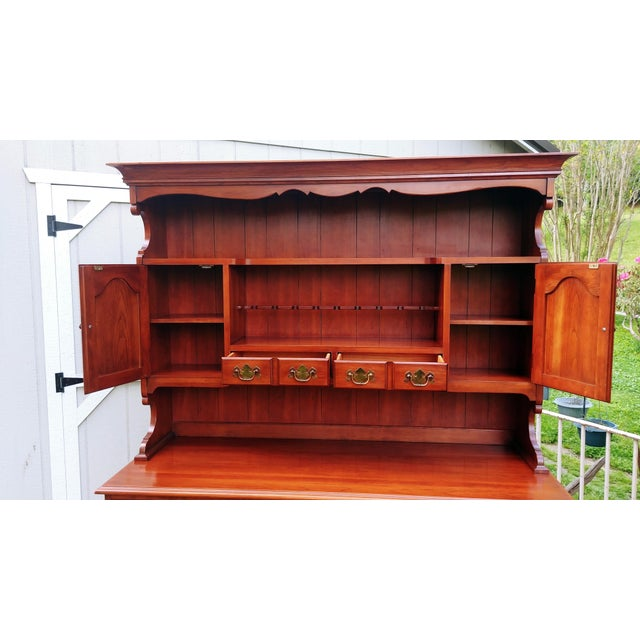 Metal Frederick Duckloe & Bros Solid Wild Black Cherry Sideboard & China Cabinet Hutch For Sale - Image 7 of 13