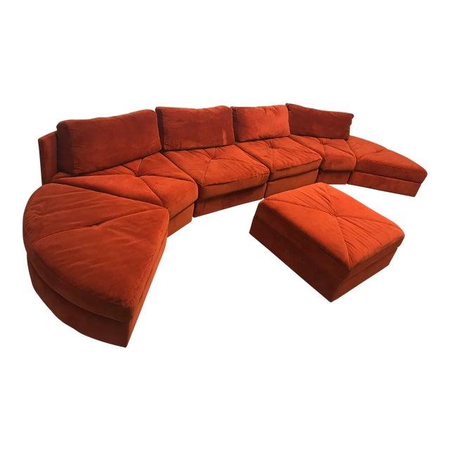 Vintage Retro Rust Velvet Sectional Sofa - Image 1 of 7