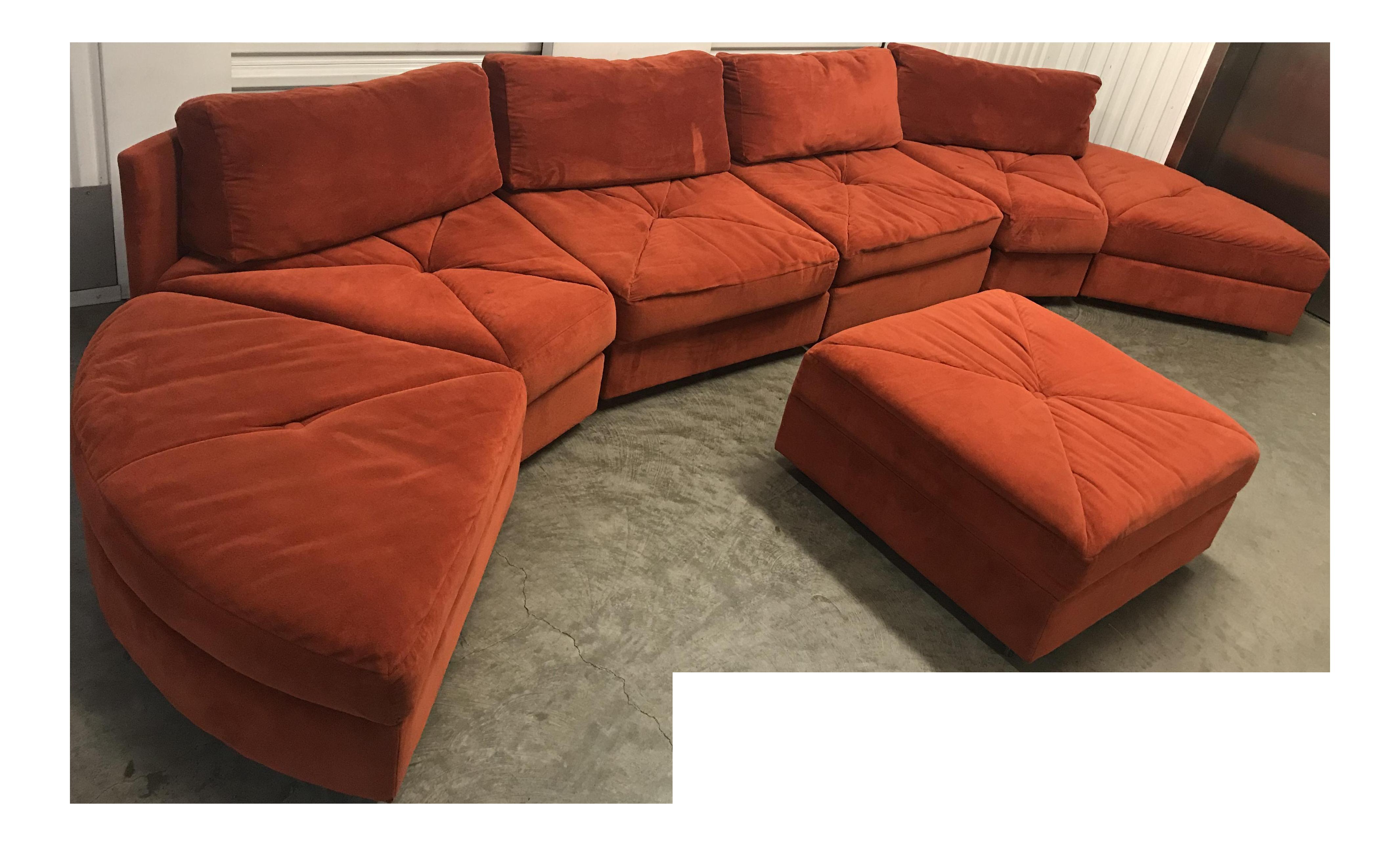 Vintage Retro Rust Velvet Sectional Sofa