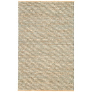 Jaipur Living Diagonal Weave Natural Solid Tan/ Green Area Rug - 9′ × 12′ For Sale