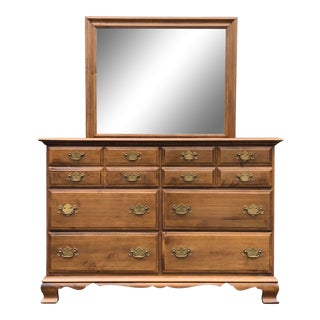 Sterlinghouse Collections Solid Maple Dresser and Mirror For Sale