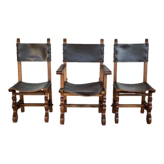 19th Century Set of Spanish Colonial Armchair and Two Chairs For Sale