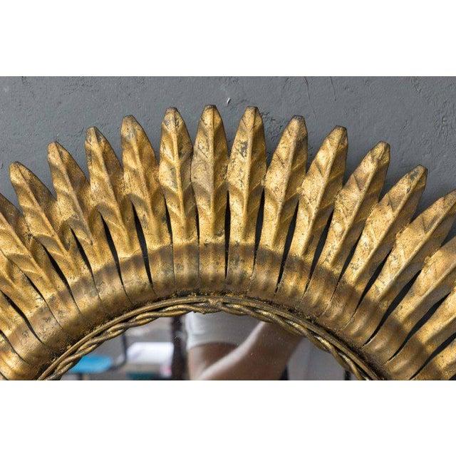 1940s Spanish Gilt Metal Sunburst Mirrors, 1940s - A Pair For Sale - Image 5 of 7