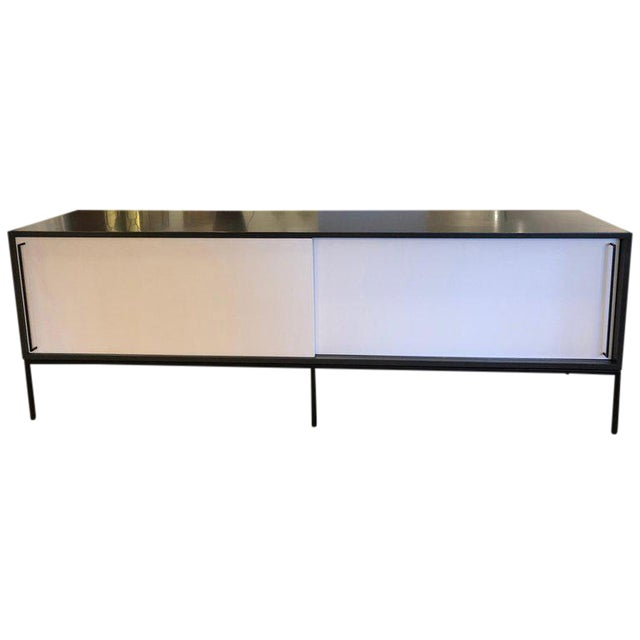 Re 379 Credenza in Wrought Iron With White Doors on Black Base For Sale