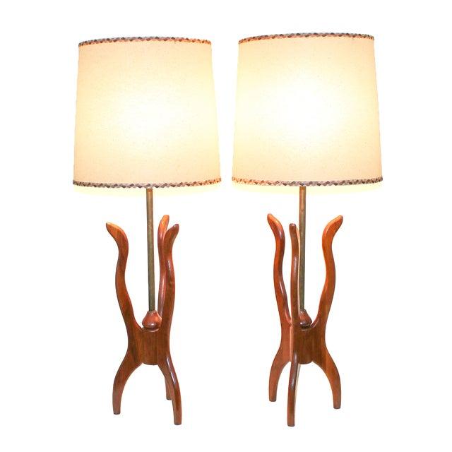 Danish Modern Walnut Tripod Lamps - A Pair - Image 1 of 10