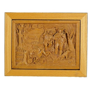 A Wooden Micro Carving Plaque by Johann Rint Ca. 1880 For Sale