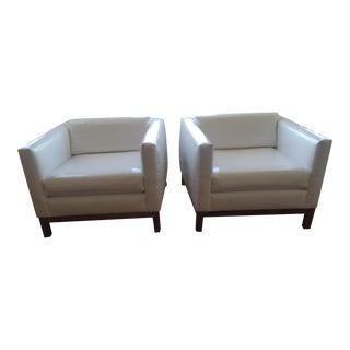 Mid-Century Modern White Club Chairs - A Pair