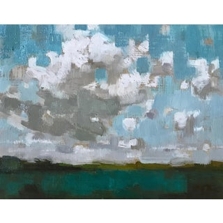 """Rubino Framed Oil Painting """"From the House of Refuge"""", Contemporary Blue Seascape For Sale"""