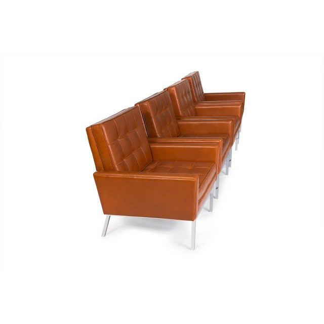 1960s 1965 Florence Knoll Cognac Leather Armchairs - Set of 4 For Sale - Image 5 of 6