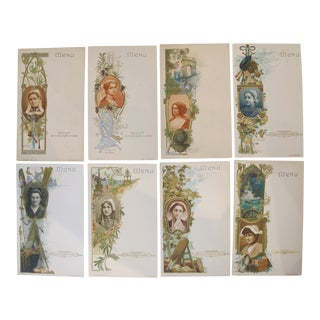 Set of 8 Art Nouveau Belle Epoque Trade Cards, French For Sale