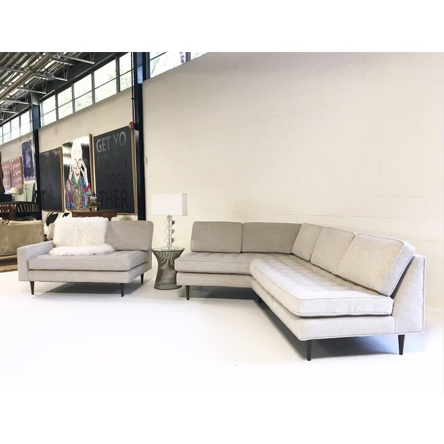 Fabric Vintage Mid-Century 2-Piece Sectional Sofa Restored in Gray Loro Piana Alpaca Wool For Sale - Image 7 of 13