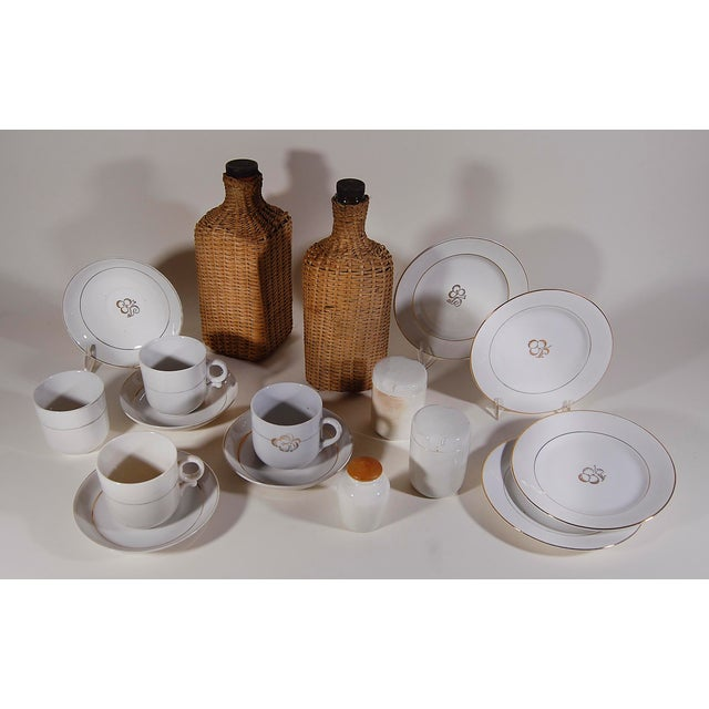 Vintage English ' Sirram ' Wicker Kettle & Tea Service for 4 Picnic Set - 45 Pieces For Sale - Image 4 of 11