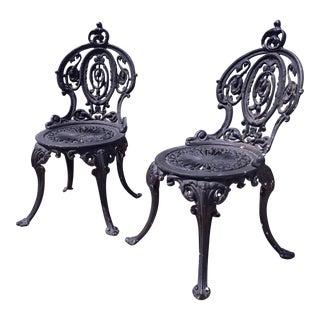 Antique Adams Navillus Cast Iron Garden Chairs - Set of 2
