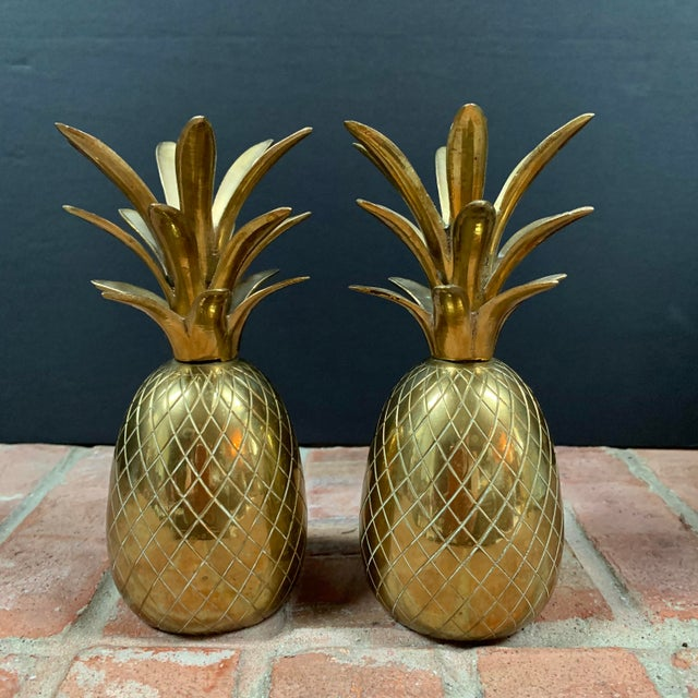 Metal Vintage Brass Pineapple Candle Holders / Dinner Bells - a Pair For Sale - Image 7 of 7