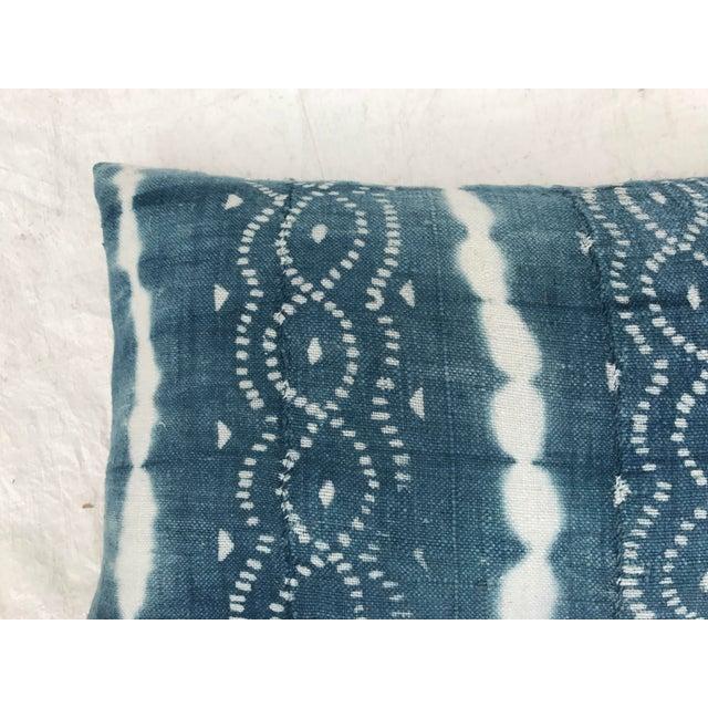 African Indigo Faded Tye-Dye Fringe Pillows - A Pair - Image 9 of 10