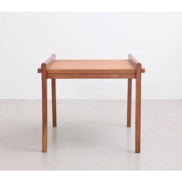 Rare Rene Gabriel Side Table in Solid Oak For Sale - Image 6 of 7