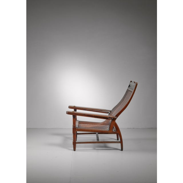 Brass Planter's chair in teak, cane and brass, Italy, circa 1900 For Sale - Image 7 of 8