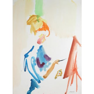 Jack Freeman Portrait of a Female Artist, Watercolor on Paper, 20th Century For Sale