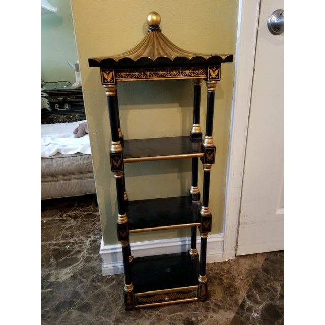 1980s Last Call Black & Gold Asian Shelving Unit For Sale - Image 5 of 9