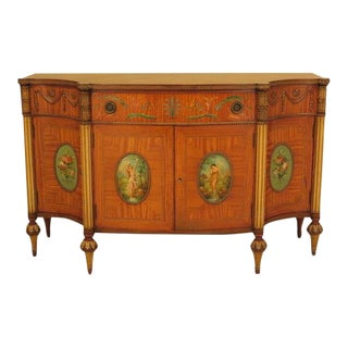 Robert Irwin Satinwood Adam Paint Decorated Commode For Sale