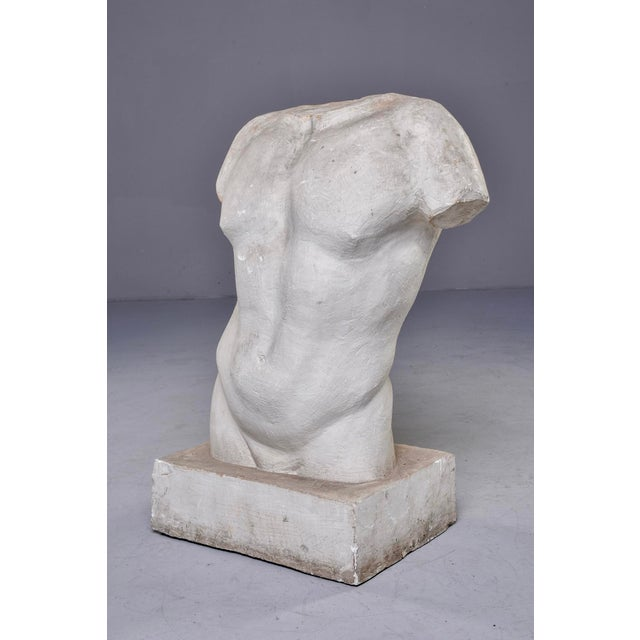 Found in France, this classical study in plaster of male torso has built in base and stands just under two and half feet...
