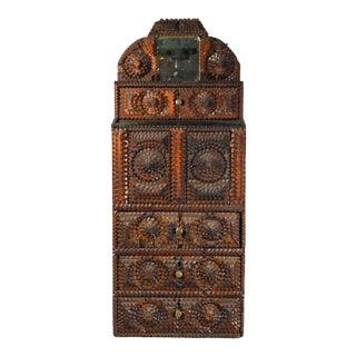 Folk Art American Tramp Art Cabinet, Burlington, Vermont