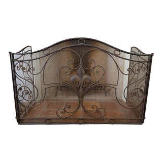 French Antique Reproduction Fireplace Screen For Sale