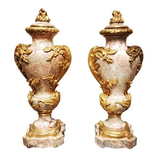 Magnificent French Marble and Bronze Louis XV Style Cassolettes - a Pair For Sale