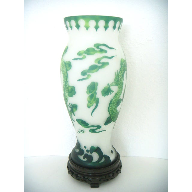 Vintage Asian Green & White Dragon Vase on Stand - Image 2 of 7
