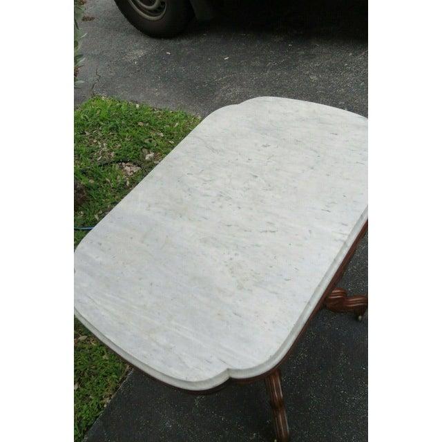 Victorian Eastlake Carved Marble Top Large Side End Center Table For Sale - Image 10 of 11