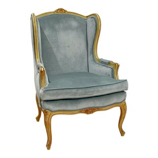 Vintage French Wing Chair For Sale