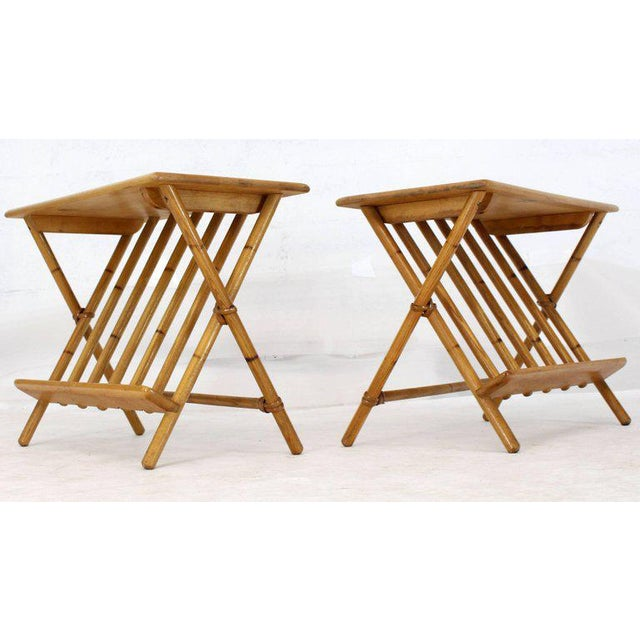 Heywood-Wakefield 1960s Mid-Century Modern Faux Burnt Bamboo X-Base Side Tables - a Pair For Sale - Image 4 of 13