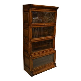 Crafters and Weavers Mission 4 Stack Barrister Bookcase - Beveled Glass For Sale