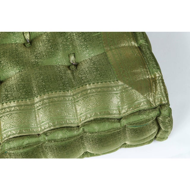 Late 20th Century Vintage Oversized Silk Square Green Tufted Moroccan Floor Cushion For Sale - Image 4 of 6