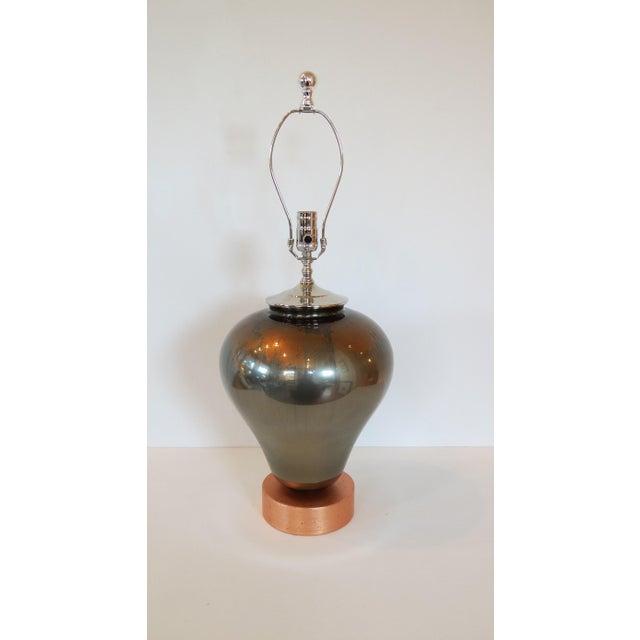 Vintage Mercury & Copper Leaf Glass Lamp - Image 2 of 9