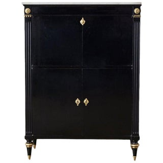 Marble-Top Maison Jansen Neoclassical Ebonized Dry Bar Cabinet For Sale