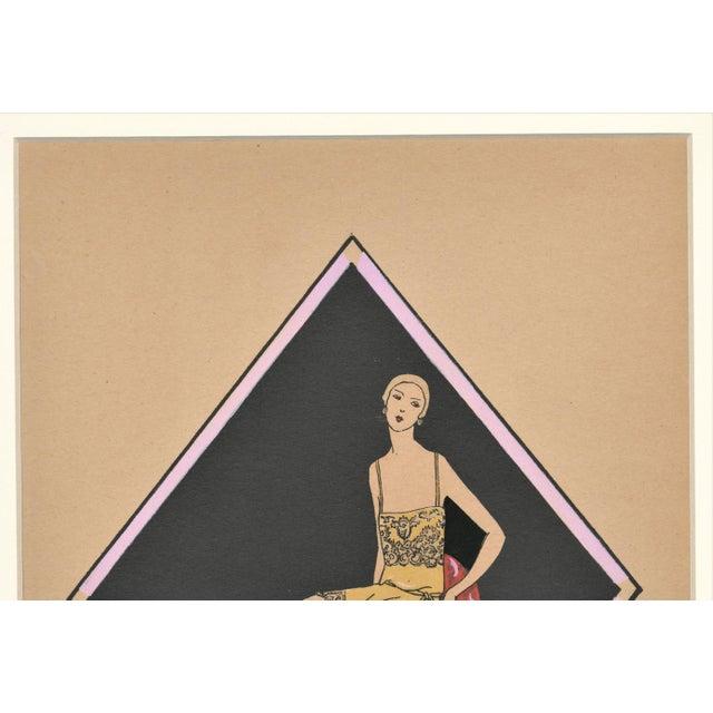 Art Deco Matted French Art Deco Vintage Lingerie Fashion Pochoir For Sale - Image 3 of 5