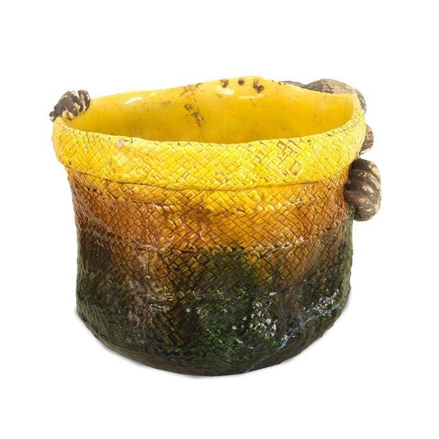 English Victorian 'Majolica' Porcelain Basket Form Jardinière For Sale - Image 4 of 9
