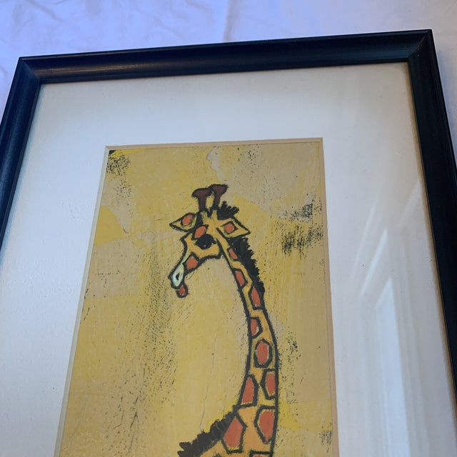 Mid-Century giraffe painting with vibrant colors and interesting proportions. A fabulous nursery piece and ready to hang.