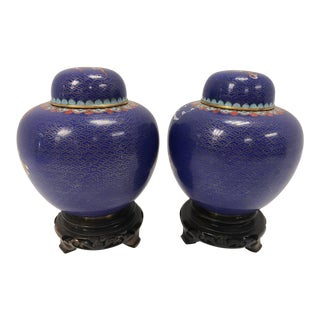 Pair of Cloisonné Dragon Ginger Jars Urns Vessels on Carved Wood Stands For Sale
